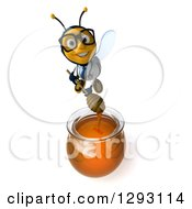 Clipart Of A 3d Bespectacled Happy Bee Doctor Holding A Dipper Over A Honey Jar Royalty Free Illustration
