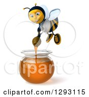 Clipart Of A 3d Happy Bee Doctor Holding A Dipper Over A Honey Jar Royalty Free Illustration