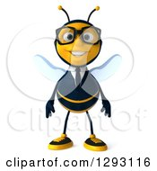 Clipart Of A 3d Happy Bespectacled Bee Businessman Royalty Free Illustration
