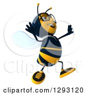 Clipart Of A 3d Happy Bespectacled Bee Businessman Facing Right And Jumping Royalty Free Illustration