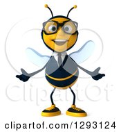 Clipart Of A 3d Happy Bespectacled Bee Businessman Welcoming Royalty Free Illustration