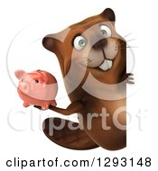 Clipart Of A 3d Beaver Walking With A Piggy Bank Around A Sign Royalty Free Illustration