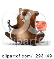 Clipart Of A 3d Beaver Walking With A Piggy Bank And Wrench Royalty Free Illustration