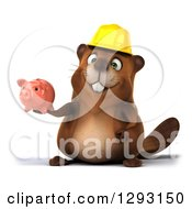 Clipart Of A 3d Construction Beaver Holding A Piggy Bank Royalty Free Illustration