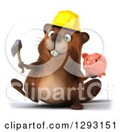 Clipart Of A 3d Construction Beaver Walking With An Axe And A Piggy Bank Royalty Free Illustration