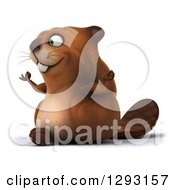 Clipart Of A 3d Beaver Facing Left And Meditating Royalty Free Illustration