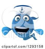 3d Welcoming Happy Blue Sailor Fish