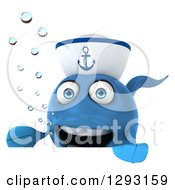 3d Happy Blue Sailor Fish Presenting Over A Sign