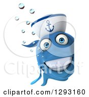3d Smiling Happy Blue Sailor Fish Looking Around A Sign
