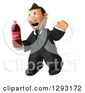 Clipart Of A 3D Short White Businessman Facing Right Jumping And Holding A Soda Bottle Royalty Free Illustration