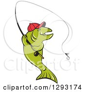Clipart Of A Happy Cartoon Trout Fish Fly Fishing Royalty Free Vector Illustration by patrimonio