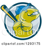 Clipart Of A Happy Cartoon Trout Fish With A Baseball Bat And Cap Emerging From A Blue And White Circle Royalty Free Vector Illustration by patrimonio