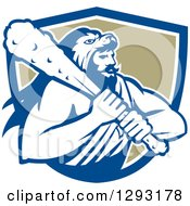 Clipart Of A Retro Muscular Man Hercules Wearing A Lion Skin And Holding A Club In A Blue White And Tan Shield Royalty Free Vector Illustration