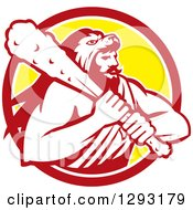Clipart Of A Retro Muscular Man Hercules Wearing A Lion Skin And Holding A Club In A Red White And Yellow Circle Royalty Free Vector Illustration