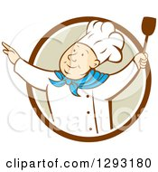 Clipart Of A Retro Cartoon Happy White Male Chef Dancing With A Spatula In A Brown White And Tan Circle Royalty Free Vector Illustration