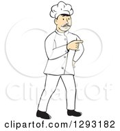 Clipart Of A Retro Cartoon White Male Head Chef With A Mustache Pointing Royalty Free Vector Illustration