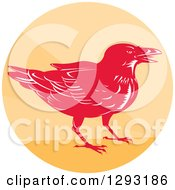 Clipart Of A Retro Woodcut Raven Crow In An Orange Circle Royalty Free Vector Illustration by patrimonio