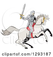 Clipart Of A Cartoon Horseback Knight Wielding A Sword Royalty Free Vector Illustration