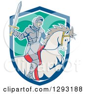Clipart Of A Cartoon Horseback Knight Wielding A Sword And Emerging From A Blue White And Turquoise Shield Royalty Free Vector Illustration