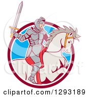 Clipart Of A Cartoon Horseback Knight Wielding A Sword And Emerging From A Maroon White And Blue Circle Royalty Free Vector Illustration