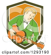 Clipart Of A Retro Cartoon White Male Musician Playing A Guitar And Emerging From A Green White And Orange Shield Royalty Free Vector Illustration