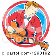 Retro Cartoon White Male Musician Playing A Guitar And Emerging From A Red White And Blue Circle