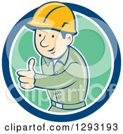 Retro Cartoon White Male Construction Worker Foreman Giving A Thumb Up In A Blue White And Green Circle