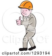 Clipart Of A Retro Cartoon White Male Construction Worker Foreman Giving A Thumb Up Royalty Free Vector Illustration