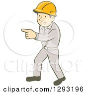 Clipart Of A Retro Cartoon White Male Construction Worker Pointing Royalty Free Vector Illustration