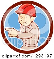 Retro Cartoon White Male Construction Worker Pointing In A Maroon White And Blue Circle
