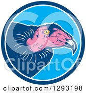 Clipart Of A Retro Vulture Head In A Blue And White Circle Royalty Free Vector Illustration