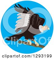 Clipart Of A Condor Landing In A Blue Circle Royalty Free Vector Illustration