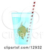 Confused Tropical Fish In A Glass Of Water With A Straw