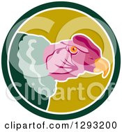 Clipart Of A Condor Head In A Green And White Circle Royalty Free Vector Illustration by patrimonio