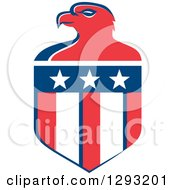 Clipart Of A Retro Red White And Blue Bald Eagle Head And American Flag Crest Royalty Free Vector Illustration
