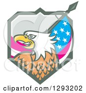 Clipart Of A Retro Cartoon Tough Bald Eagle Head With An American Flag In A Shield Royalty Free Vector Illustration