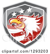 Clipart Of A Retro Tough Bald Eagle Head In A Gray Red And White American Flag Shield Royalty Free Vector Illustration