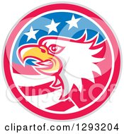 Clipart Of A Retro Tough Bald Eagle Head In A Gray Red White And Blue American Flag Circle Royalty Free Vector Illustration