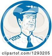 Clipart Of A Retro Male Commercial Aircraft Pilot In A Blue White And Tan Circle Royalty Free Vector Illustration