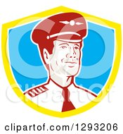 Clipart Of A Retro Male Commercial Aircraft Pilot In A Yellow White And Blue Shield Royalty Free Vector Illustration