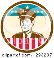 Clipart Of A Retro Male Commercial Aircraft Pilot In A Brown White And American Themed Circle Royalty Free Vector Illustration