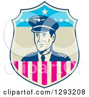 Clipart Of A Retro Male Commercial Aircraft Pilot In An American Themed Shield Royalty Free Vector Illustration by patrimonio