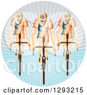 Clipart Of A Team Of Retro Woodcut Cyclists In A Circle Of Sunshine Royalty Free Vector Illustration by patrimonio