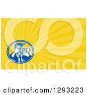 Clipart Of A Retro Photographer And Yellow Rays Background Or Business Card Design Royalty Free Illustration by patrimonio