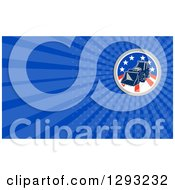 Clipart Of A Retro Bobcat Digger Machine In An American Circle And Blue Rays Background Or Business Card Design Royalty Free Illustration by patrimonio