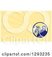 Clipart Of A Retro Spray Painter And Yellow Rays Background Or Business Card Design Royalty Free Illustration