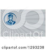 Clipart Of A Retro African American Security Guard And Gray Rays Background Or Business Card Design Royalty Free Illustration by patrimonio