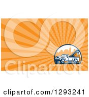 Clipart Of A Retro Tow Truck In The City And Orange Rays Background Or Business Card Design Royalty Free Illustration