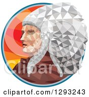 Clipart Of A Low Polygon Geometric Native American Chief In A Circle Royalty Free Vector Illustration