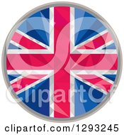 Clipart Of A Low Polygon Geometric Union Jack Flag Circle Royalty Free Vector Illustration